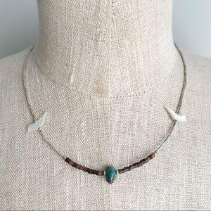 VINTAGE Native Fetish Bird & Turquoise Necklace